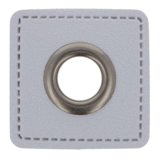 2 Stück Ösenpatches - Classic 8mm - Grau/Nickel
