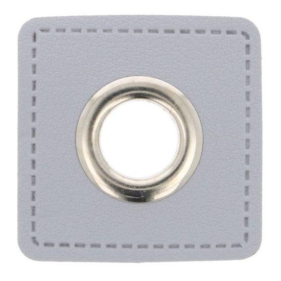 2 Stück Ösenpatches - Classic - Öse 8mm - Grau/Silber