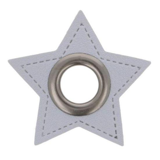 2 Stück Ösenpatches - Stern 11mm - Grau/Nickel