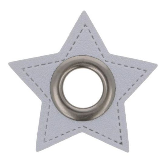 2 Stück Ösenpatches - Stern 8mm - Grau/Nickel