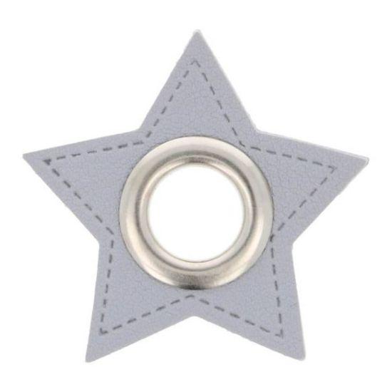 2 Stück Ösenpatches - Stern 11mm - Grau/Silber