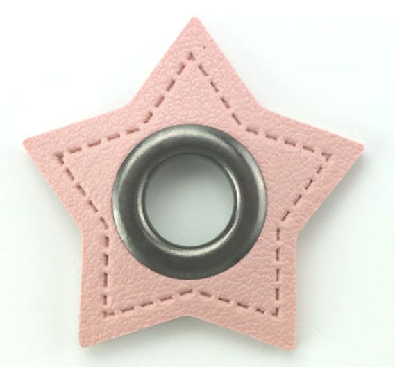 2 Stück Ösenpatches - Stern 8mm - Rosa/Nickel