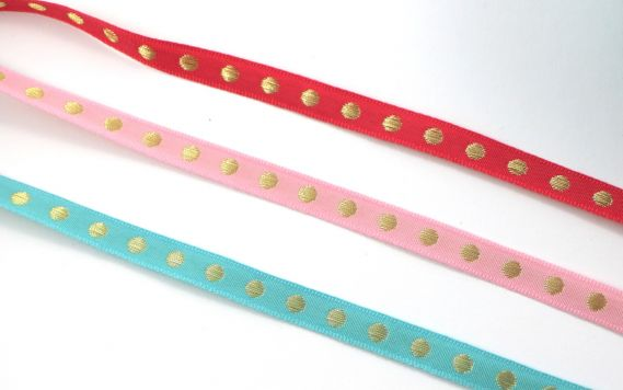 Webband - Punkte - Gold - Rosa - Koralle - Mint
